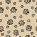 Abstract seamless vector pattern with swirls on beige background