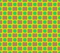Abstract seamless yellow background of pink flowers and green squares Royalty Free Stock Photo