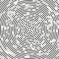 Abstract segmented geometric circle shape. Radial concentric circles. Rings. Swirly concentric segmented circles. Design
