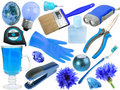 Abstract set of blue objects Royalty Free Stock Photo
