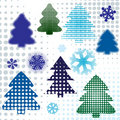 Abstract set christmas tree Royalty Free Stock Image