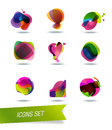 Abstract shape icons isolated on background Stock Image