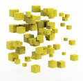 Abstract shape made from golden cubes Royalty Free Stock Images