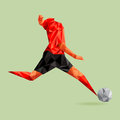Abstract shape soccer player polygonal illustration vector design eps Stock Images