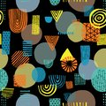 Abstract shapes on black background seamless vector pattern. Triangles, circles, rectangles, half circles orange, yellow, and blue