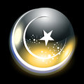 Abstract shiny moon an islamic greeting card for eid mubarak vector illustration Royalty Free Stock Image