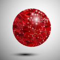 Abstract shiny red polygonal sphere this is file of eps format Stock Images