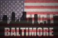 Abstract silhouette of the city with text Baltimore at the vintage american flag Royalty Free Stock Photo