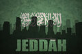 Abstract silhouette of the city with text Jeddah at the vintage saudi arabia flag
