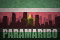 Abstract silhouette of the city with text Paramaribo at the vintage suriname flag