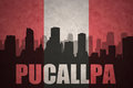 Abstract silhouette of the city with text Pucallpa at the vintage peruvian flag
