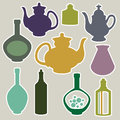 Abstract silhouettes of kitchen dishes. Royalty Free Stock Photo