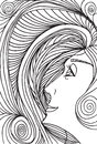 Abstract sketch of woman face made in adobe illustrator Stock Photography