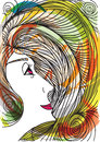 Abstract sketch of woman face made in adobe illustrator Royalty Free Stock Photography