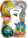 Abstract sketch of woman face made in adobe illustrator Royalty Free Stock Images