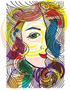 Abstract sketch of woman face made in adobe illustrator Stock Images