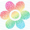 Abstract Sketchy Flower Notebook Doodles Stock Photos