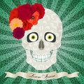 Abstract skull with flowers, eyes, light pattern and pop-art bac Royalty Free Stock Photo