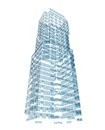 Abstract skyscraper consisting of blue planes Royalty Free Stock Photo