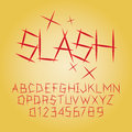 Abstract slash alphabet and digit vector set of Royalty Free Stock Images