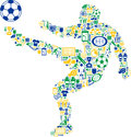 Abstract soccer player illustration of of football filled from sport themed icons white background Royalty Free Stock Images