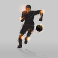Abstract soccer striker shooting ball with gray background Royalty Free Stock Image