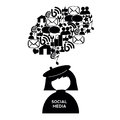 Abstract social media person thinking on white background Royalty Free Stock Photos