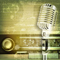 Abstract sound grunge background with microphone and retro radio Royalty Free Stock Photo