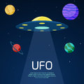 Abstract space background with ufo spaceship Royalty Free Stock Photo