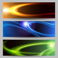 Abstract space banner set an outer or header cosmic glowing objects with flare effects and copy for text Stock Photos