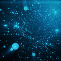 Abstract space blue tint background. Chaotically connected points and polygons flying in space. Flying debris
