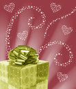 Abstract sparkle heart design gold present with swirls valentines day card background illustration and sun rays Royalty Free Stock Image