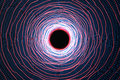 Abstract speed tunnel warp in space, wormhole or black hole, scene of overcoming the temporary space in cosmos. 3d