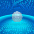 Abstract Sphere of Electronic Circuitry Stock Photo