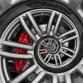 Abstract sport car spiral wheel rim with tire, brake disc. Automobile repetitive pattern background illustration. Car wheel and ti Royalty Free Stock Photo