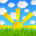Abstract spring background with green grass, sun and blue sky wi