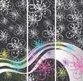 Abstract spring banners flowers on the line backg or summer background cherry or apple and wavy background of lines and outline Stock Photography