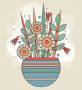 Abstract spring bunch of geometric flowers in a striped vase. Colorful background for greeting card, banner, print.