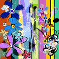 Abstract springtime flowers vector art background with strokes, splashes and geometric lines