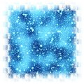 Abstract square blue snowflakes bounded background Stock Photography