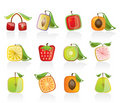 Abstract square fruit icons Stock Image