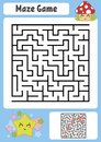 Abstract square maze. Kids worksheets. Game puzzle for children. Cute star and mushroom. One entrances, one exit. Labyrinth conund