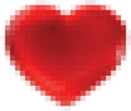 Abstract square pixel mosaic heart shape background Stock Photos