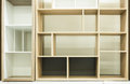 Abstract squares and rectangles structure. Various of shelves background for greeting objects. Interior design