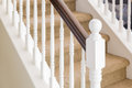 Abstract of Stair Railing and Carpeted Steps in House Royalty Free Stock Photo