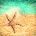 Abstract starfish background against grunge ocean Royalty Free Stock Photo
