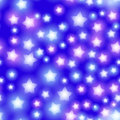 Abstract starry seamless pattern with neon star on bright pink and lilac, blue background. Galaxy Night sky with stars. Vector Royalty Free Stock Photo