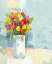 Abstract still life bouquet of flowers oil painting vase with a Stock Image