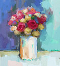 Abstract still life bouquet of flowers oil painting vase with a Stock Photos