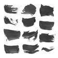 Abstract strokes painted with black liquid paint realistic Stock Image
